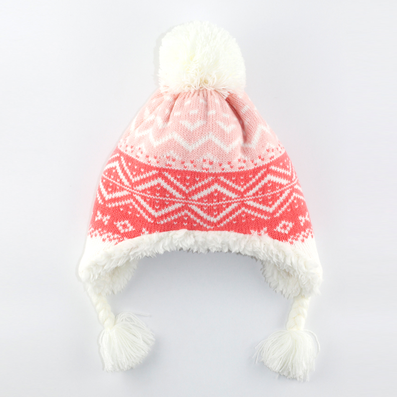 6M to 5 years baby & kids girls geometric print winter fleece earflap beanie hats children fashion christmas casual hats caps