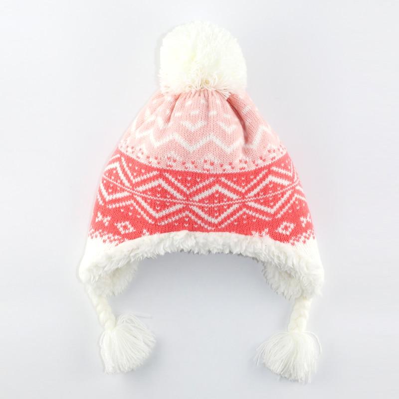 6M to 5 years baby & kids girls geometric print winter fleece earflap beanie hats children fashion christmas casual hats caps