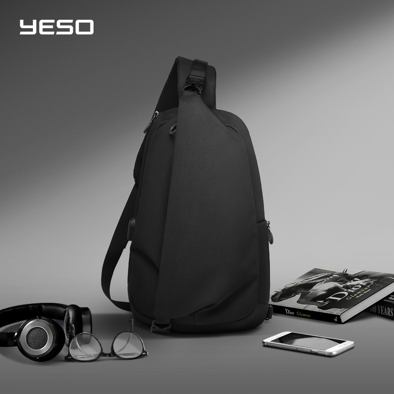 YESO Fashion Crossbody Bags For Men With USB Sling Chest Bag Waterproof Lightweight Shoulder Bag Casual Daypacks Fit 9.7