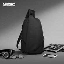 "YESO موضة حقائب كروسبودي مع USB الرافعة حقيبة صدر للرجال مقاوم للماء خفيفة الوزن حقيبة كتف عادية daypack صالح 9.7 ""باد"