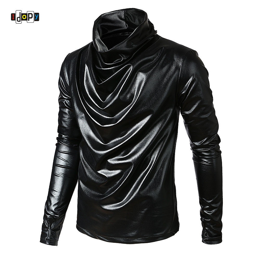 Idopy Men`s Hip Hop Faux Leather   T     Shirts   Long Sleeve Turtle Neck Fake Leather Hipster Hiphop Street Style Tees For Male