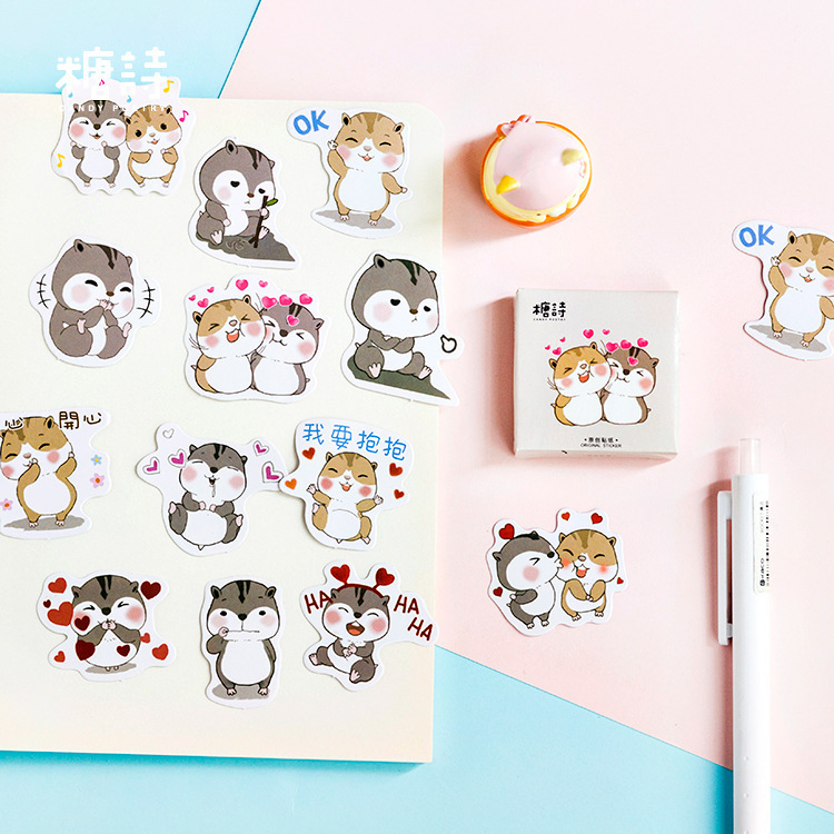 45PCS/box New Lovely Chipmunks Diary Paper Lable Stickers Crafts And Scrapbooking Decorative Lifelog Sticker DIY Stationery