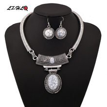 LZHLQ Vintage Carved Oval Choker Statement Necklace Set Women 3Colors Zinc Alloy Jewelry  Trendy Collares Collier