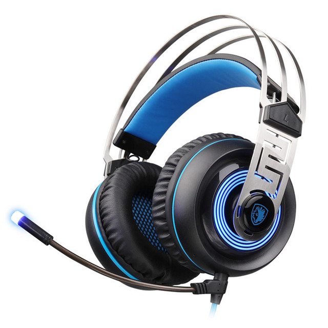 New Sades A7 USB Gaming Headset 7.1 Stereo Surround Headphones Earphones with Mic LED Light for PC Gamer Laptop