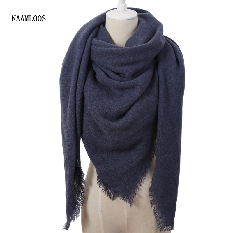 Hot Fashion Solid Color Winter Square font b Scarf b font Women Oversize Blankets Luxury brand