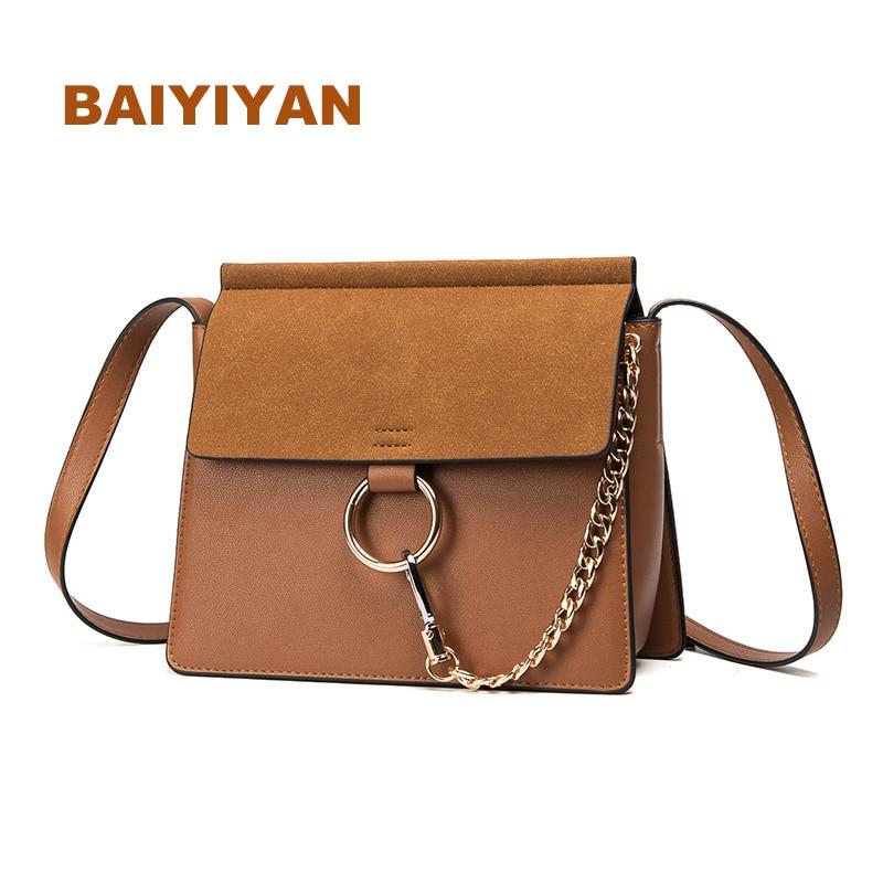 New Fashion Nubuck Leather Handbag Ladies Shoulder Bag High Quality Women Messenger Bag Ring Chains Women Crossbody Bag