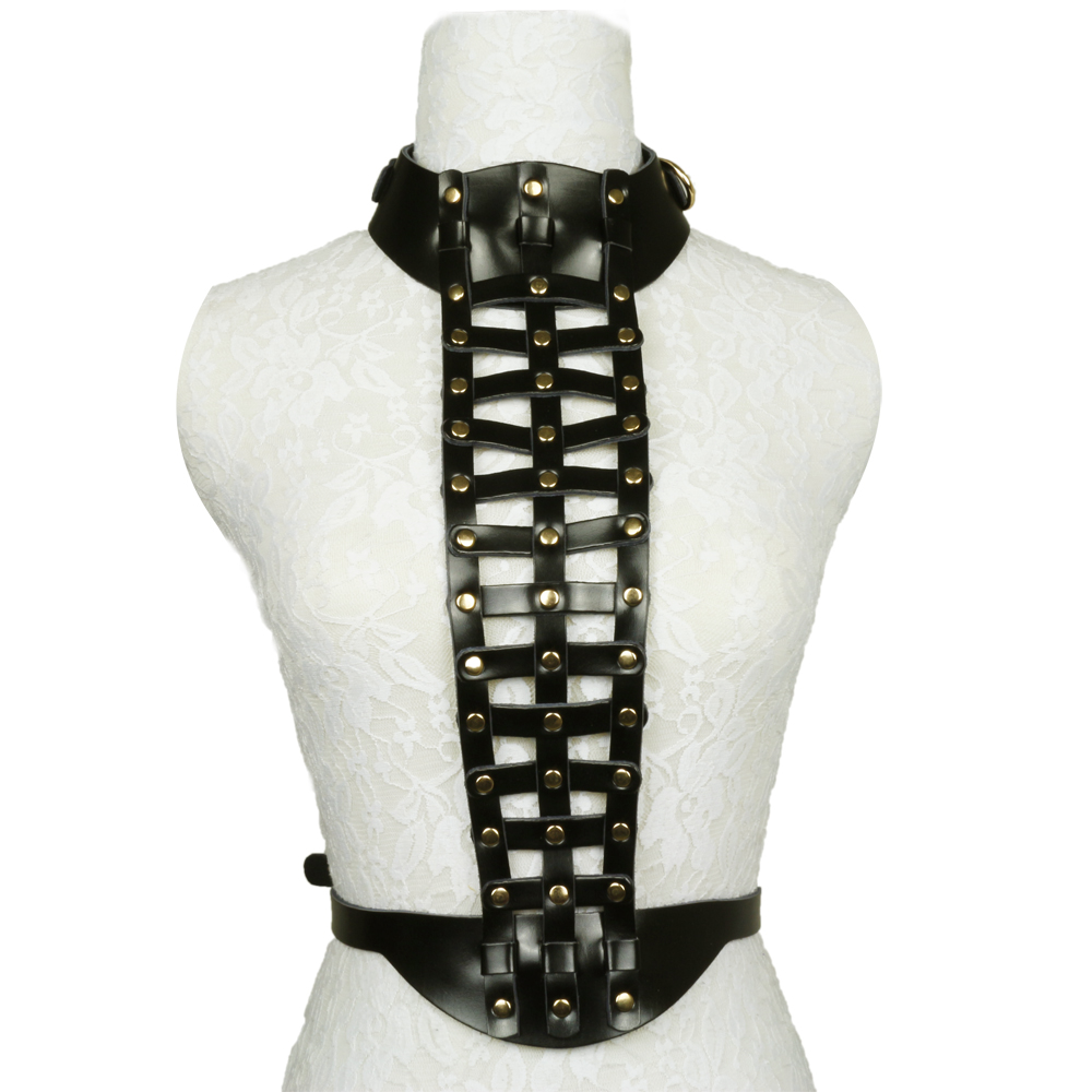 GARTER COLLAR HARNESS,Punk & Rock Detachable Adjustable Sexy Body Harness With Leather Straps Fasten At Waist & Around Neck