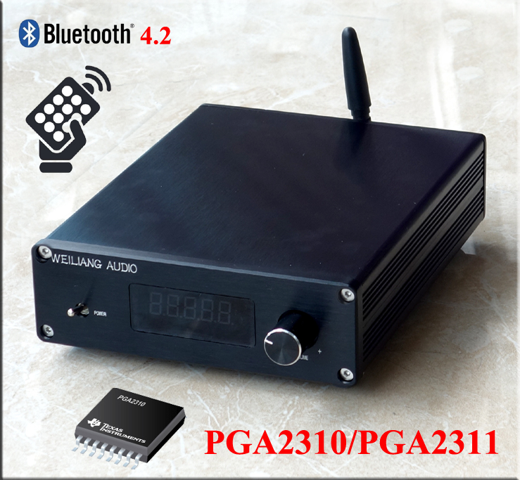 Finished F3 Bluetooth 4.2 Remote Preamplifier Stereo HiFi PGA2310 Preamp New hi endcs3310 remote preamplifier stereo preamp with vfd display 4 way input