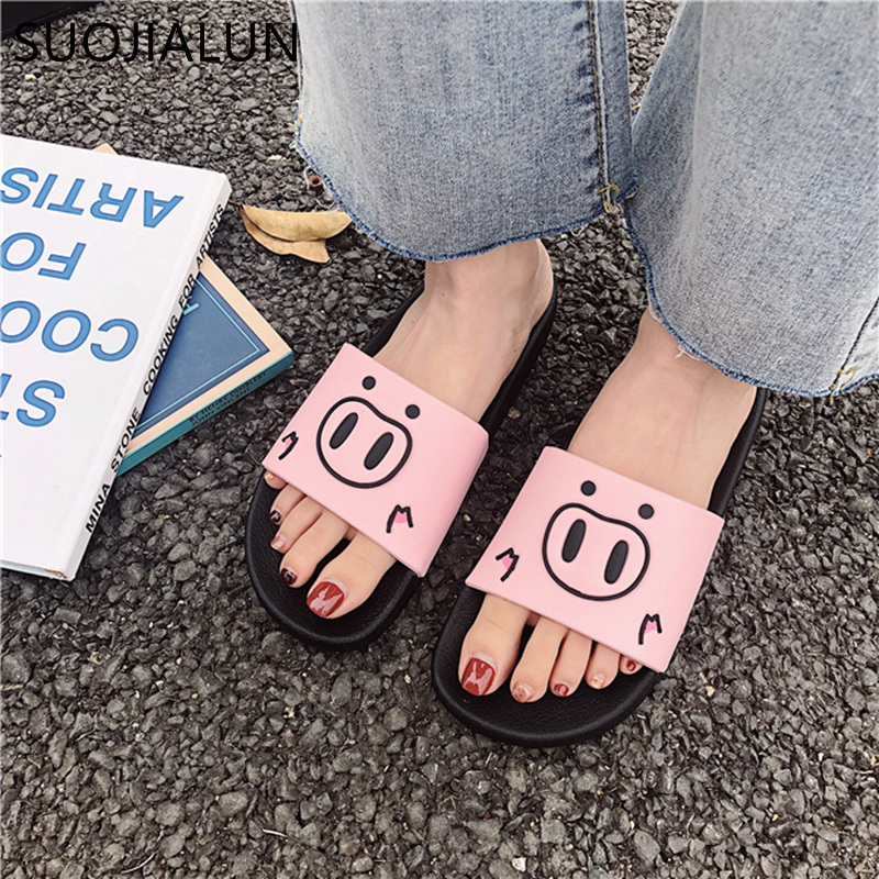 SUOJIALUN Cute Pig Cartoon Women Slides Fashion Summer lovely Ladies Casual Slip On Beach Flip Flops Slides Woman Indoor SlipperSUOJIALUN Cute Pig Cartoon Women Slides Fashion Summer lovely Ladies Casual Slip On Beach Flip Flops Slides Woman Indoor Slipper