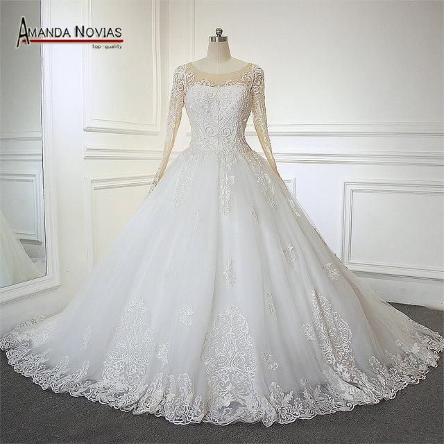 Nude Frische Farbe Armeln Real Fotos Brautkleider Neue