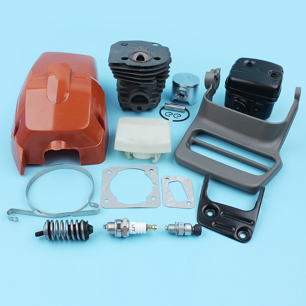 44mm Cylinder Piston Muffler Air Filter Engine Cover Guard Kit For Husqvarna 350 351 353 346XP 345 Chainsaw Nikasil Plated nikasil cylinder piston kit 45mm big bore fits husqvarna 353 351 350 346xp epa 345 340 chainsaw decompression valve fuel filter