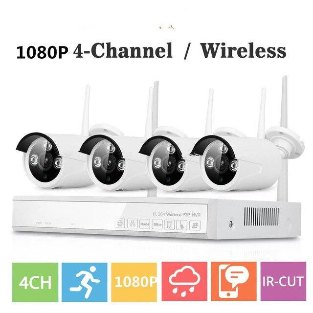 Plug & Play Wireless 4CH 1080P Wireless CCTV camera System wifi 4pcs 1080P 2MP waterproof IP camera outdoor security kit