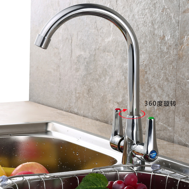 Free Shipping Dual Handle Single Hole Kitchen Sink Faucet With Solid