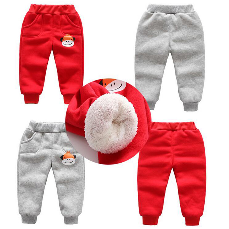 Winter baby warm cotton pants for boys and girls sport pants kids child plus velvet thickening pants children trousers (3)
