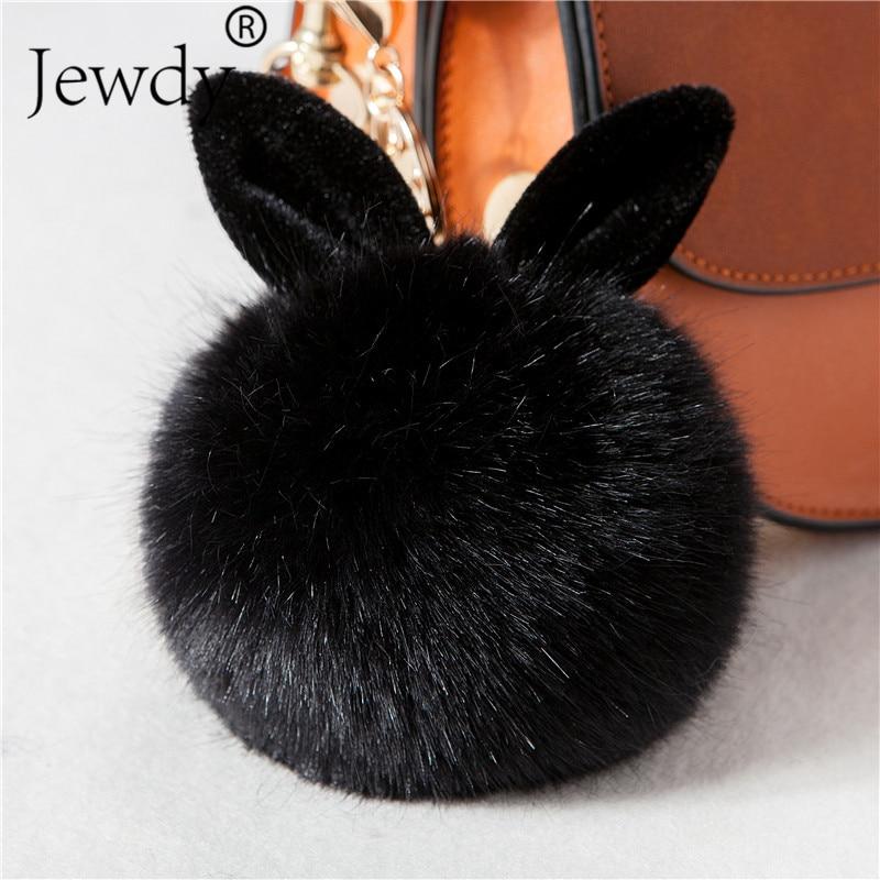 купить New Fluffy Bunny Toys Ear Keychain Rabbit Key Chain Fur Woman Bag Charms Keyring Pom Pom Car Pendant Pompom Holder Jewelry по цене 56.44 рублей