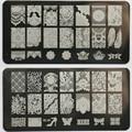 New 10Pcs/Lot Lace Design Nail Stamping Plates Nail Art Image Konad Stampping Nail Art Plates Manicure Template Nail Tool BC