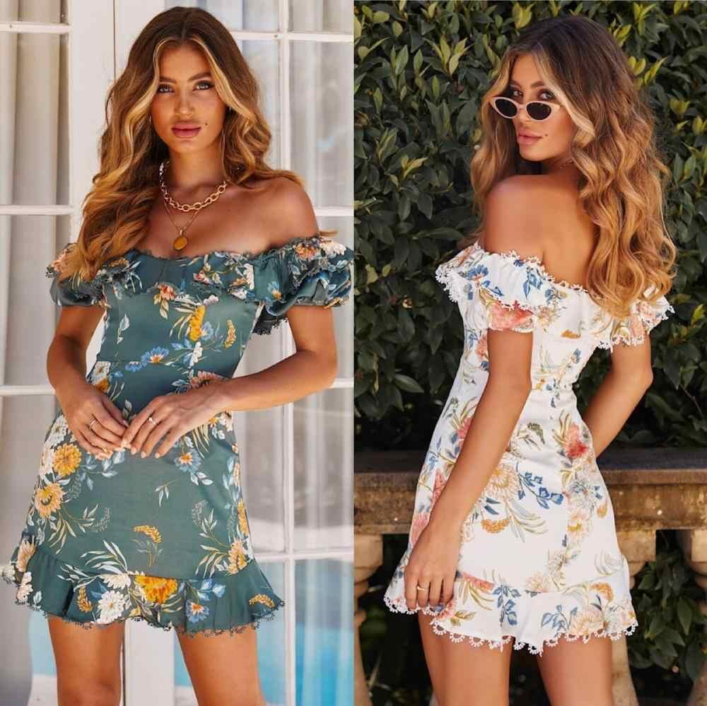 С открытыми плечами для женщин сексуальное платье леди лето 2019 цветочный принт мини Femal оборками повседневное модные платья