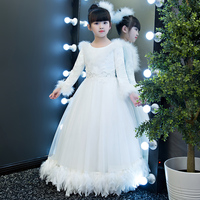 White Baby Girls Dress Spring Autumn Winter Warm Kids Children Birthday Party Wedding Christmas Princess Ball
