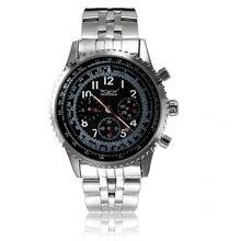 Jaragar бренд класса люкс автоматическая механическая мода стальной браслет черный чехол мужские наручные часы мужские часы 2016 New