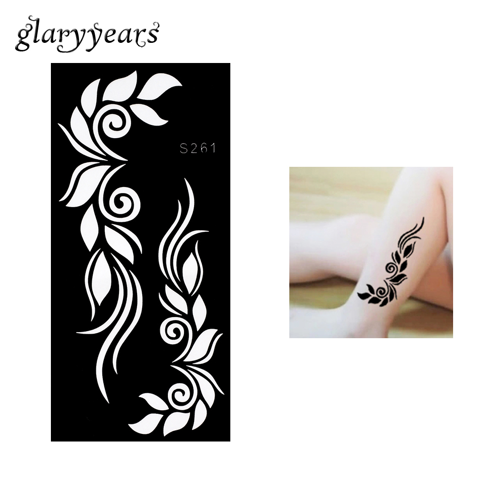 1 Piece Henna Tattoo Stencil for Beauty Women Body Leg Arm Art Hollow Leaf Sticker Design Henna Tattoo Stencil 9.5 * 18.5cm S261