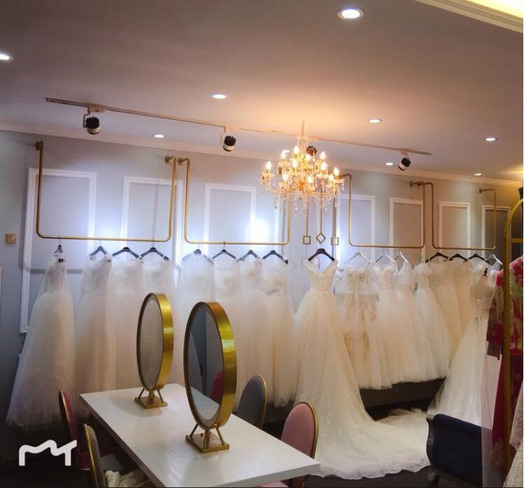 Golden wedding dress rack wall hanger ceiling clothing store floor type U hanger in Storage Holders Racks from Home Garden