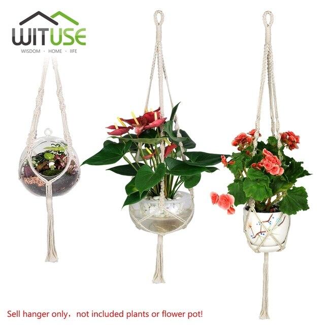 WITUSE 3x Macrame Plant Hanger Cotton Handmade Hanging Rope Patio Garden  Plant Basket Pot Hanger For