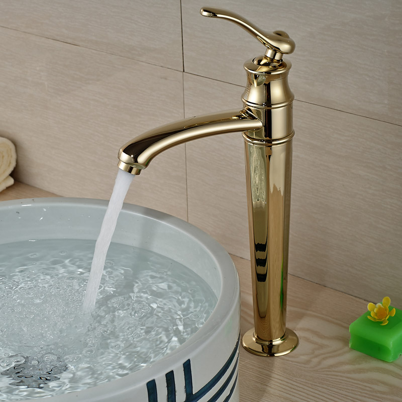 Good Quality Bathroom Sink Vessel Faucet Single Handle Basin Mixer Tap Gold Golden Finished