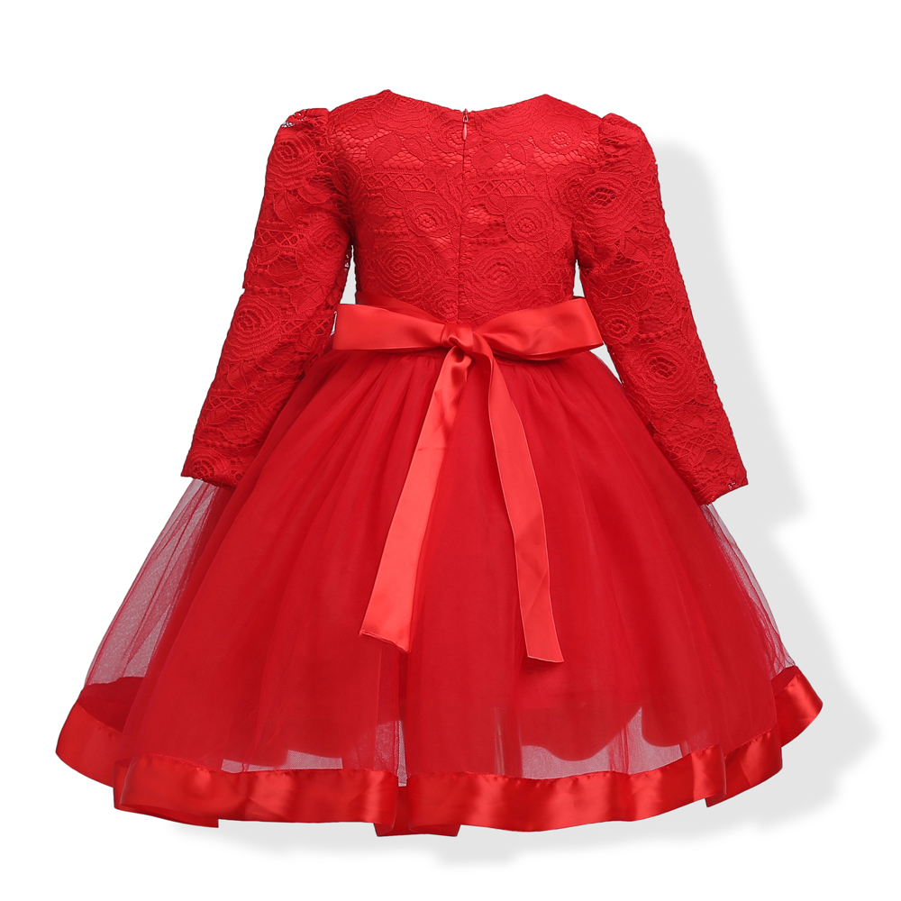 Girls Party Clothing for Children Girl Long Sleeve Lace Princess Wedding Red Dress Girls Party Prom Dress For 5-16Y Girls girls europe and the united states children s wear red princess long sleeve princess dress child kids clothing red bow lace