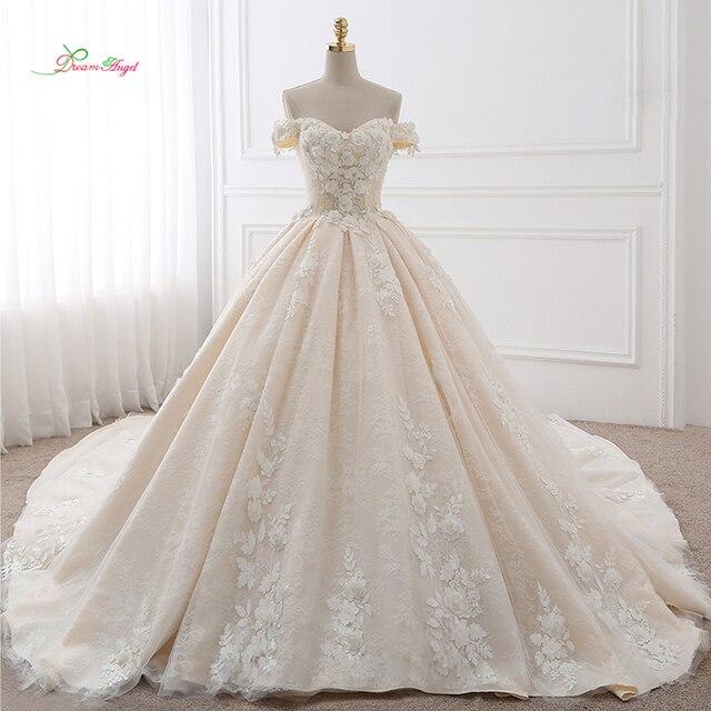 59f913ffa1a Ангел мечты Королевский поезд Милая бальное платье Свадебные платья 2019  аппликации цветы Винтаж кружевные платья невесты