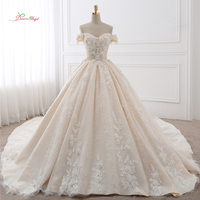 Dream Angel Royal Train Sweetheart Ball Gown Wedding Dresses 2018 Appliques Flowers Vintage Lace Bride Gowns