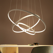 Modern led Acrylic chandelier LED circle rings hanging pendant chandelier lights for living room Acrylic Lustre Chandelier