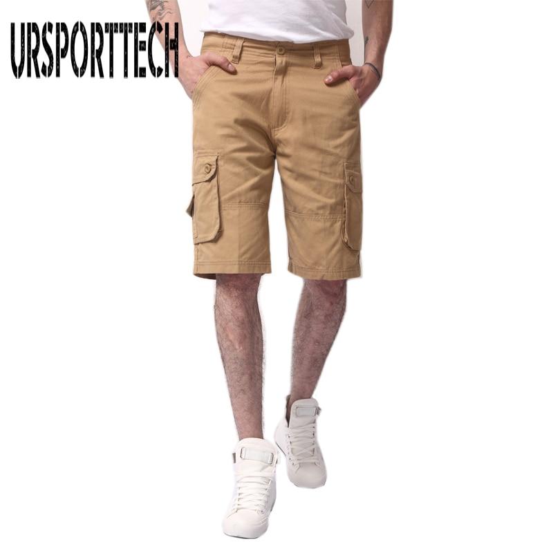 URSPORTTECH Brand Short Men Clothing 2018 Summer Cotton Shorts Men Casual Camouflage Cargo Short Knee Length Plus Size Men Short