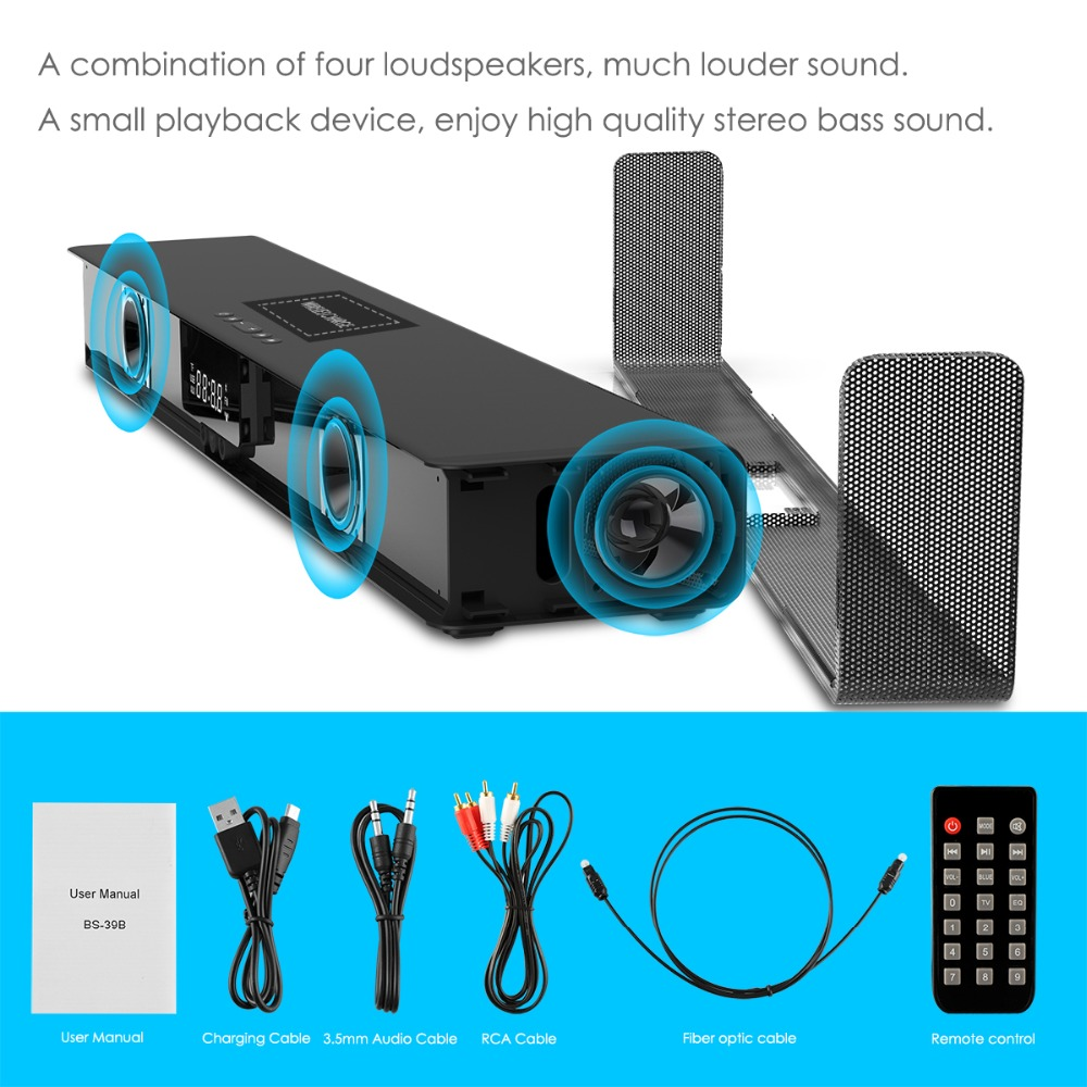Image 5 - ELE ELEOPTION 4000mAh Column Wireless Bluetooth Speaker TV Soundbar Stereo Home Theater Sound Bar TF USB RCA Clock For PC TV-in Soundbar from Consumer Electronics