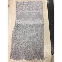 New Arrival African Lace Fabrics 2017 High Quality Tassel Lace Fabric Cord Lace Guipure Silver Lace