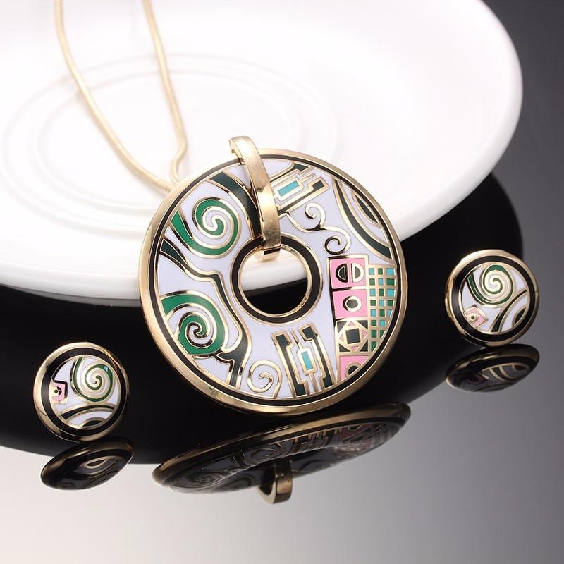 R&X ajándék Sieraden készlet évforduló eljegyzési nyaklánc készlet Női nyaklánc / fülbevalók rozsdamentes acél zománc ékszerek Divatos S22101