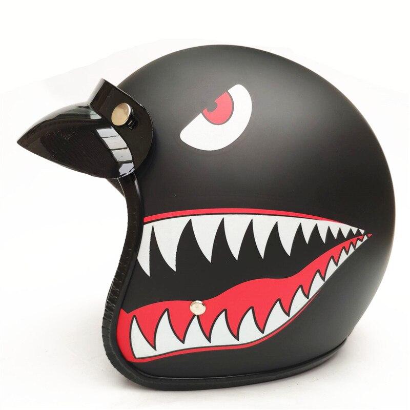 オートバイレトロハーレーヘルメットチョッパーヴィンテージカスコモトチョッパーオープンフェイスヘルメットモーターバイクスクーターカスコ Dot の承認  グループ上の 自動車 &バイク からの ヘルメット の中 1