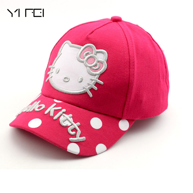 100% cotton Cartoon Hello Kitty Children Caps Sport Baseball Caps Sun Snapback Hats Unisex Boys Girls Cap Adjustable Hat