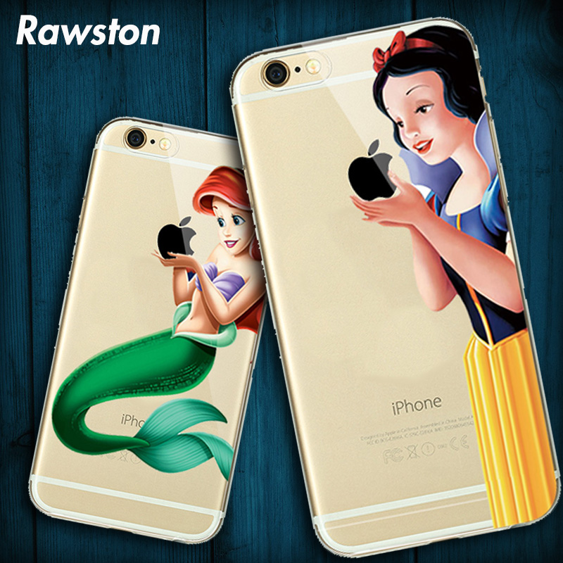 2017 Cute Snow white Phone Case Cover for Apple iPhone 8 7 6s 6 Plus 5s SE Hand Hold Catching logo Cinderella Mermaid Capinha