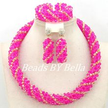 Charming Fuchsia Gold Bridal Jewelry Set Crystal Beads Necklace Nigerian Wedding African Beads Jewelry Sets Free Shipping ABY978