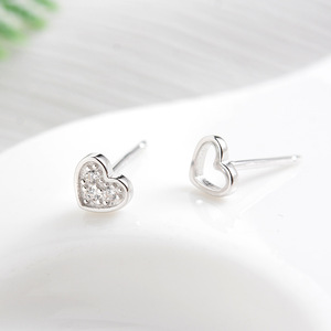Asymmetric Heart Ear Studs S925 Sterling Silvery Insert Drill Hollow Mini Earrings Fashion All-match ZC134