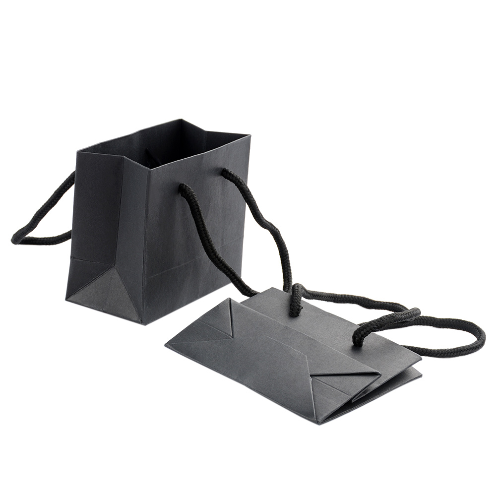 1pcs Fashion Paper Handles Bags Folding Reusable Shopping Bag  Luxurious Black Tote Pouch For Shopping