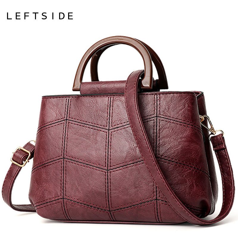 LEFTSIDE Stitching Leather Handbags For Women 2018 Winter Luxury Lady Hand Bags Female Messenger Bag Tote Crossbody Bags New lignt brown stitching design crossbody bags