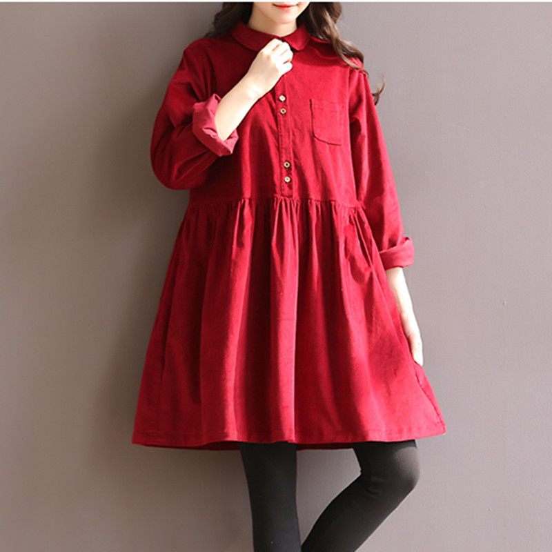 Maternity Clothes Autumn Winter Maternity Retro Long Sleeve Solid Plus Size Loose Dress Pregnancy Clothes for Pregnant Women chic scoop collar long sleeve hit color plus size dress for women