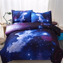 New Blue 4/3pcs Galaxy 3D Bedding Sets Universe Outer Space Duvet cover Bed Sheet/Fitted Sheet pillowcase Twin queen king