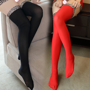 Image 2 - Sexy Shiny Leopard HIgh Stocking Candy Over Knee Socks Ice Silk Thigh High Elastic Sexy Stockings For Women F9