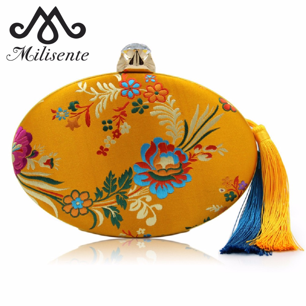 Milisente Women Vintage Floral Red Clutch Purse Diamond Hasp Embroidery Flower Cocktail Evening Bag For Wedding With Tassel