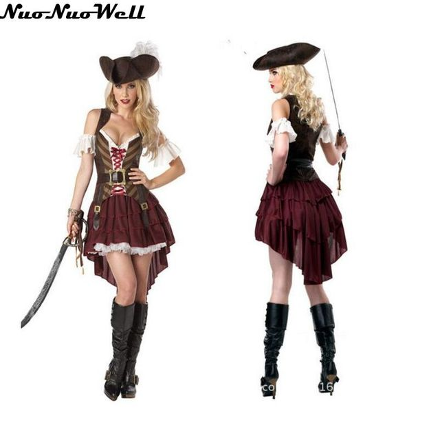 Halloween Adulto di Sesso Femminile Usura di Prestazione del Costume  Vestito Da Pirata Pirati Dei Caraibi 9aa6580cd61