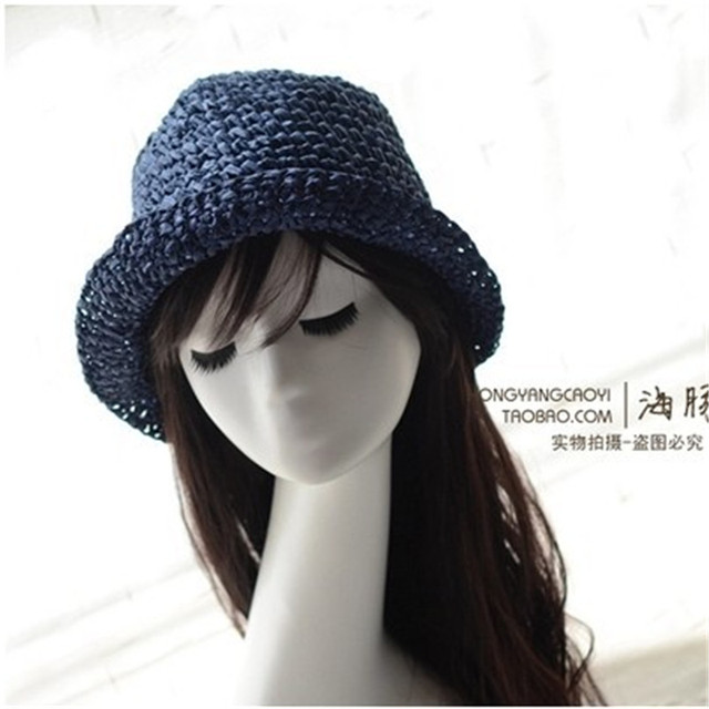 646a6daf Summer Sun Hats For Women Straw Hats Sombrero Fisherman Hat Hand Made 10  Colors Beach Sun