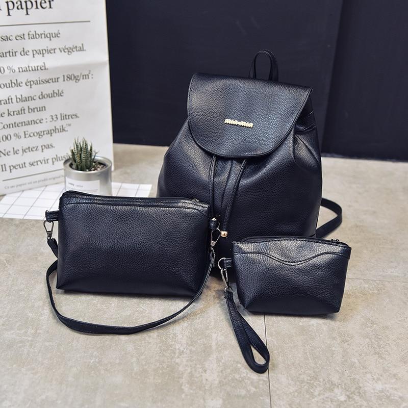 Korean women backpack bag lady 2017 school bag college wind three set fashion leisure backpack