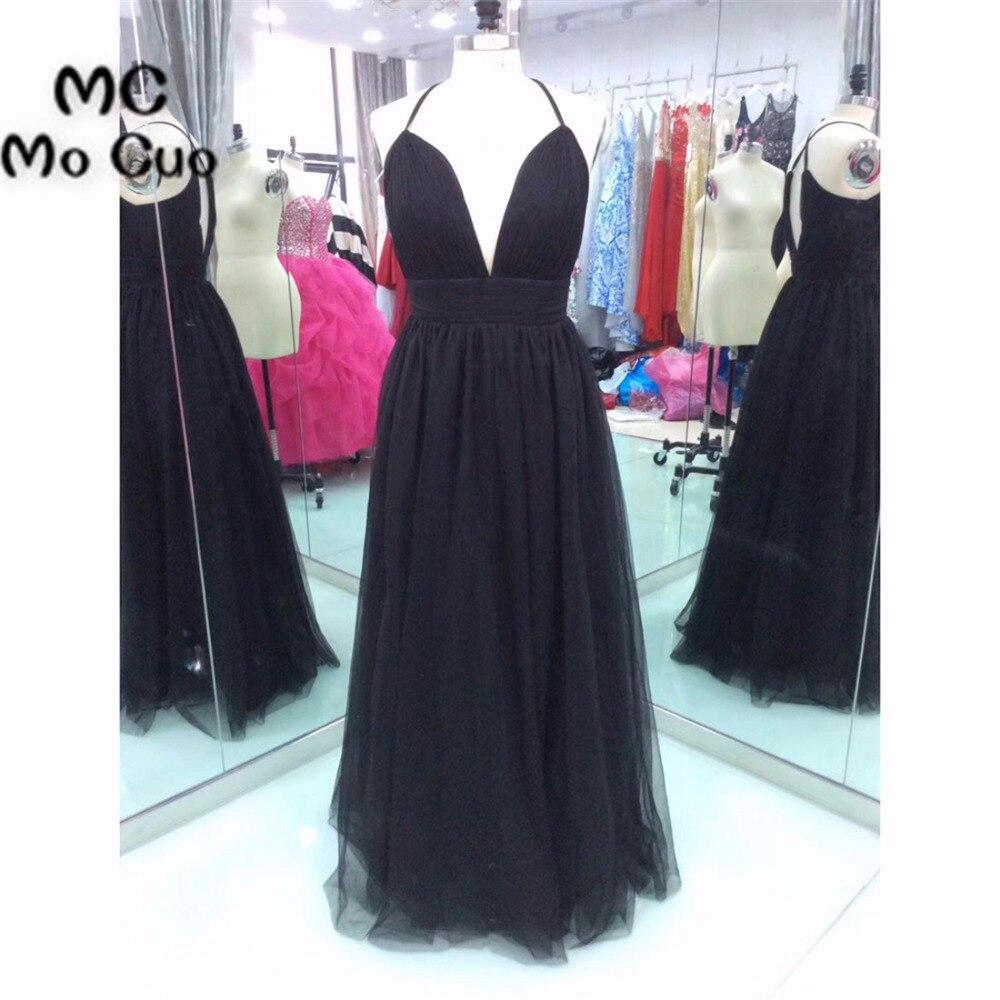 2018 Black Prom   Dresses   for teens Spaghetti Straps Vestidos de fiesta Pleated Deep V-Neck Floor Length Formal   Evening     Dress